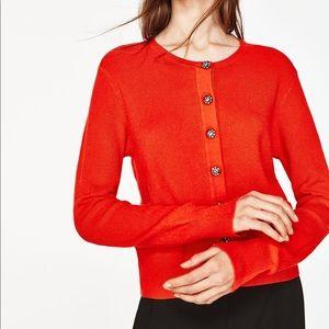 NWT Zara Orange Gem Button Cardigan Sweater